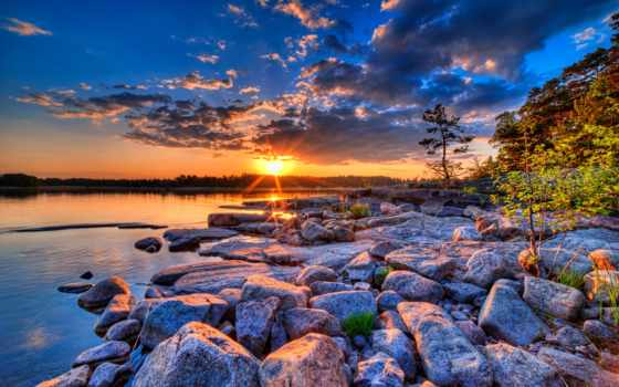 закат, небо, oblaka, trees, закаты, озеро, sun, красивые, рассветы, камни,