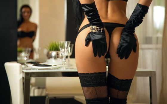 , чулки, черное белье, трусики, перчатки, попка,