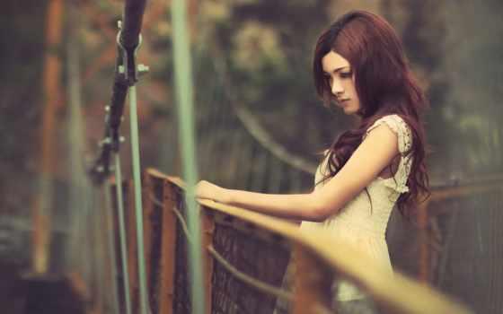 девушка, devushki, платье, девушек, шатенка, взгляд, фотографий, fotohomka, красивые, мосту, women,