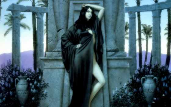 ,, леди, красота, мода, дерево, черные волосы, длинные волосы, статуя,