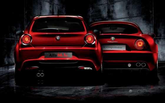 машина, авто, красная, альфа, romeo, иномарка, alfa,