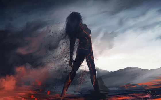 art, силуэт, девушка, пепел, лава, фантастика, дым, fantasy, существа,