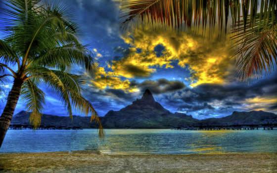 пляж, bora, islands, world, самый, стирка, trees, exotic, горы,