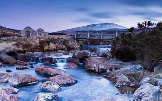 река, камни, развалины, мост, природа, landscape, stock,