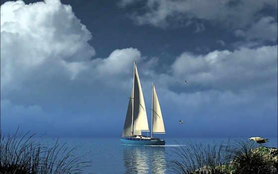 паруса, белые, яхты, кораблик, море, телефон, алые, выбран, со, широкоформатные, красивые,