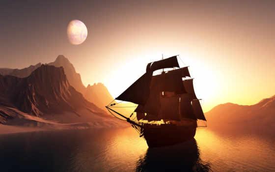 корабль, море, корабли, картинка, графика, небо, паруса, луна, закат, судно,