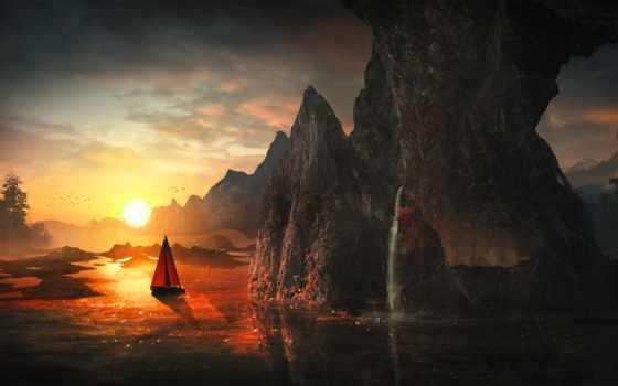 водопад, закат, красивостей, пост, rocks, art, ocean, лодка,