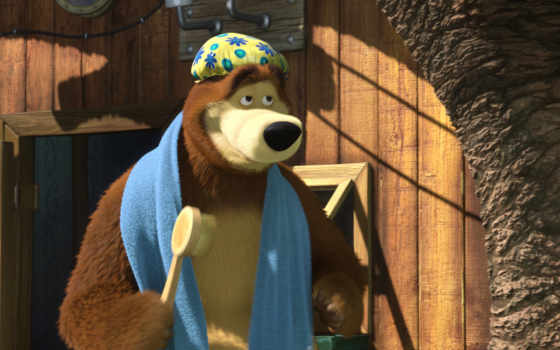 медведь, маша Фон № 26182 разрешение 1920x1080