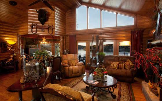 wooden, house, диван