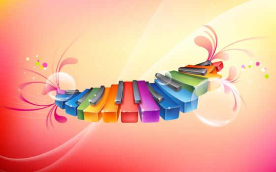 радуга, ноты, музыка, цветные,