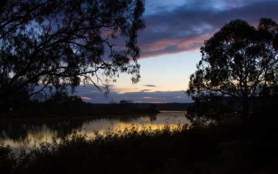 рассвет, берег, река