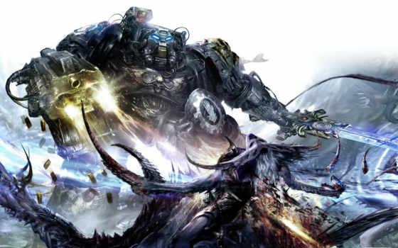 warhammer, терминатор, слаанеш, демон, iron, бой, hands,