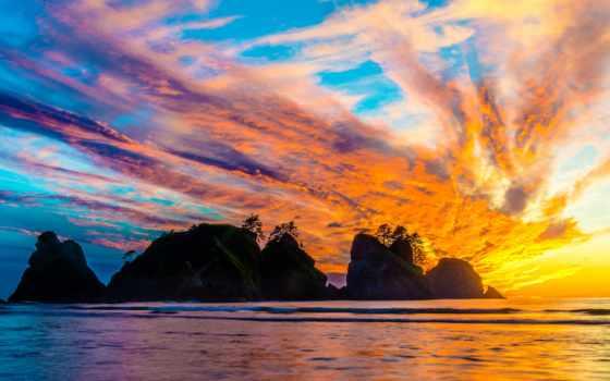 красивые, природа, море, небо, закат, дней, fonday, clouds,