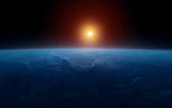 космос, earth, sun, горизонт, cosmos, солнца,