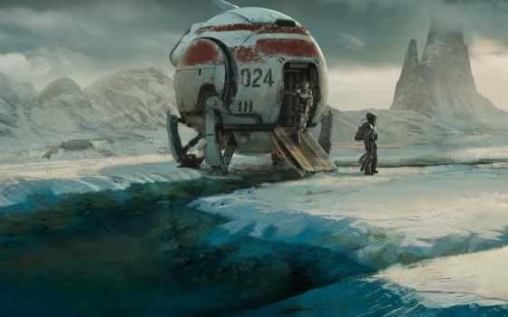 fantasy, лед, scus, science, фантастика, art, гора, world, снег, spaceship, classic