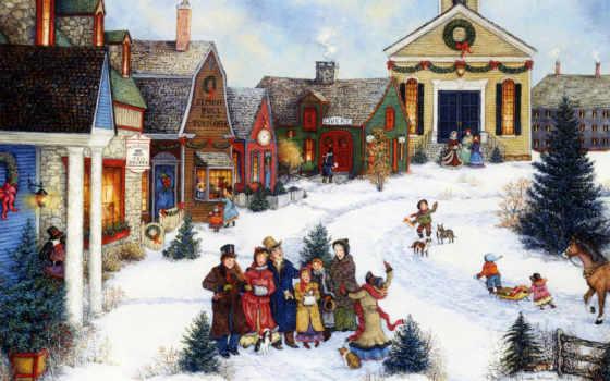 village, painting, art, caroling, americana, linda, nelson, рождество,