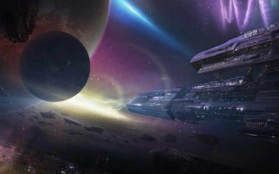 космос, корабли, станция, планеты, арт, метеориты,