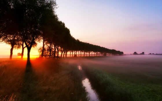 рассвет, туман Фон № 32132 разрешение 1920x1080
