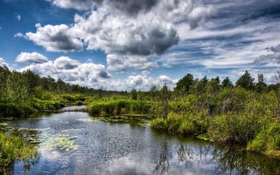 природа, река, небо Фон № 49520 разрешение 2560x1024