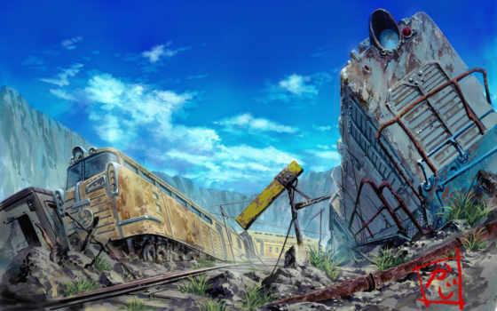 поезда, рисунок, авария