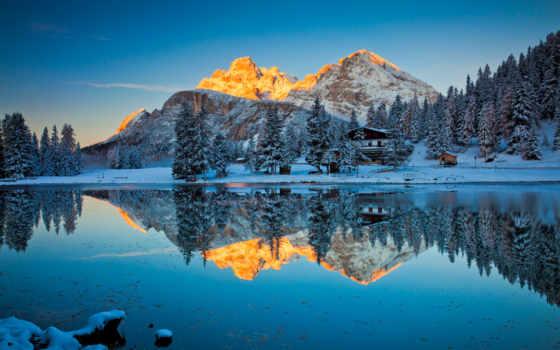 misurina, озеро, reflections, cadore,