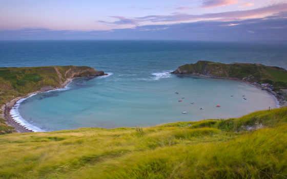 море, трава, bay, берег, небо, distance, browse,