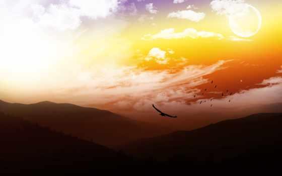 птицы, горы, небо