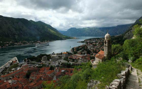 черногория, черногории, горы, хорватия, город, котор, которский, bay, гора,