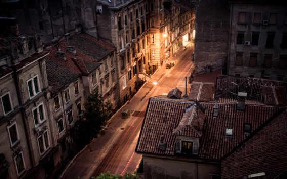дома, взгляд, крыши, ночную, улицу, города, домов,