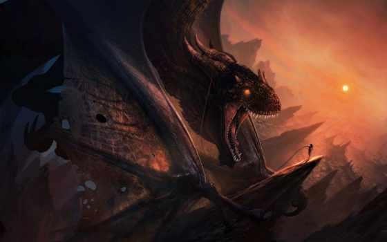 дракон, art, девушка, скалы, black, рога, драконы, нояб, лучшая, высоком,