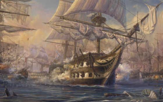 art, живопись, paintings, battleship, корабль,