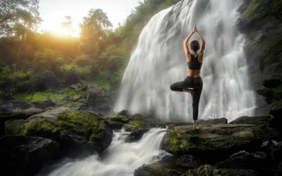 водопад, женщина, йога, картинка, stock, девушка, поза, images, devushki,