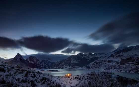lodge, горы, among, берегу, озера, гор, trees, испания, кастилия, река, снег,