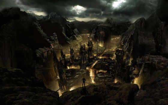 город, mysterious, хмурый, заставки, рисунки, фоновые, широкоформатные, stalker, скалы, разных,