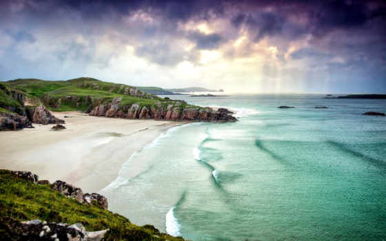 scotia, шотландия, великобритания, побережье, great, горы, природа, море, oblaka, landscape,