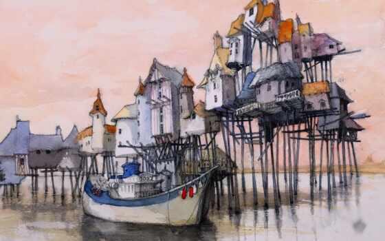 краска, watercolor, лодка, house, artwork, корабль, water, море, architecture, док