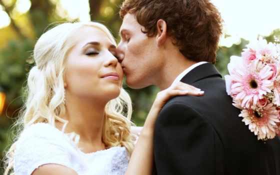 невеста, жених, поцелуй, букет, блондинка, свадьба,