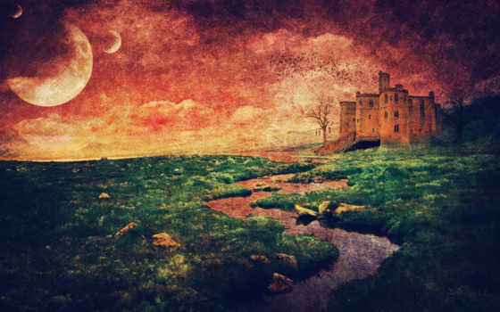landscape, замком, старый, castle, стиль,