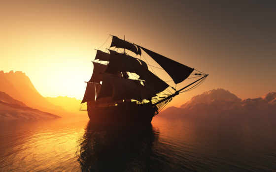 корабль, закат, закате, паруса, фотообои, ocean, солнца, морские, rendering, картинка, море,