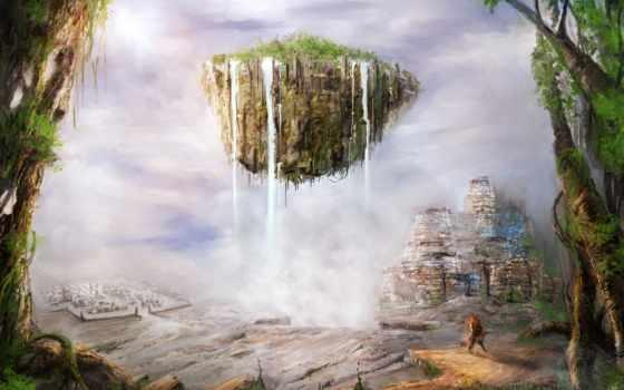 остров, flying, art, горы, jungle, фантастика, castle, картинка, холмы,