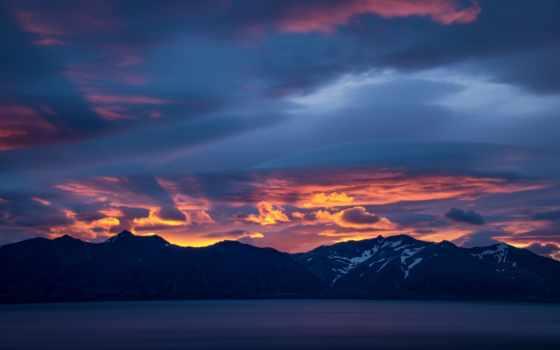 iceland, горы, море, гренландия, закат, природа,