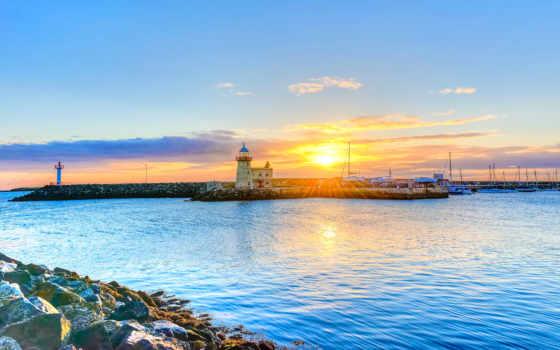 ирландский, дублин, гавань, пейзажи -, родинка, sunrays, небо, закат, море,