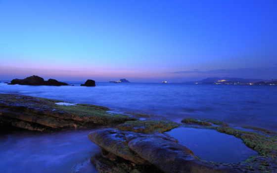 costa, musgo, azul, mar, color, hintergrundbilder, meer, felsen, blaue, dämmerung, farbe, küste, sea, les, coast, dusk, rocks, cor, papéis, parede, luzes, crepúsculo, rochas, cidade, moos, blue, ecran