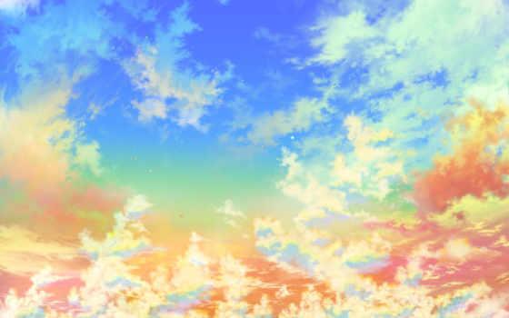 небо, яркие, золотое