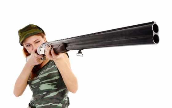девушка, ружья, пистолет,
