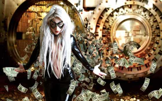 money, банка, маска, девушка, ограбление, широкоформатные,