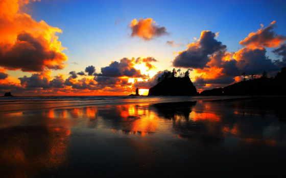 закат, washington, пуш, пляж, планшетный, близко, purple,