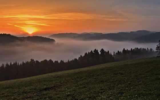 панорама, горы, закат, туман,