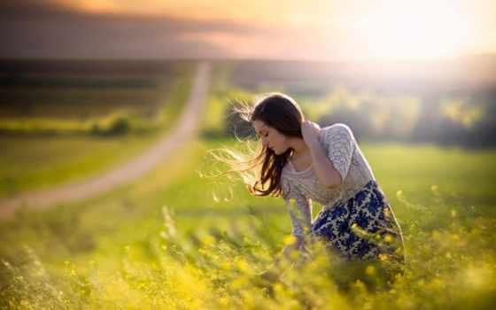поле, девушка, дорога, ветер, раздолье, чудес,