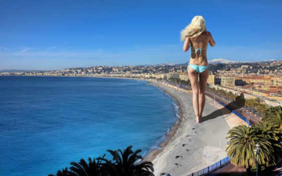 fone, девушка, широкоформатные, далеко, неба, домов, море, голубого,